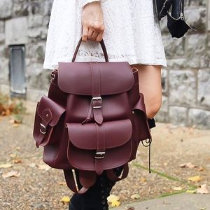 GRAFEA • NWOT wine/oxblood leather backpack